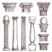 Arabic Architecture Columns Engraved Illustration With Stone Marble Pillar Vector Set Isolated. Marb poster