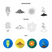 An Ecological Lamp, The Sun, A Garbage Dump, A Sprout From The Earth.bio And Ecology Set Collection  poster