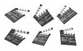 3d Rendering Of Six Black Movie Clapperboards With Empty Lines For The Title And The Creators Of A M poster