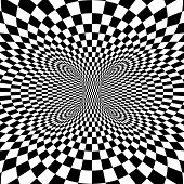 stock photo of psychodelic  - Black and white squares projection on torus - JPG
