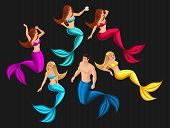 Isometry Set Of Mermaids In Different Poses For Use In Graphic Games, Beautiful Girls, Seductresses, poster