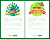 Special Offer Order Today With 15 Off Advert Posters Set. Summer Sale Emblems Tropical Plant Leaf. E poster