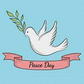 International Day Of Peace. Dove Of Peace With Olive Branch On Blue Background. Postcard, Poster Or  poster