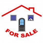 Постер, плакат: Векторное лого дом для продажи на белом фоне