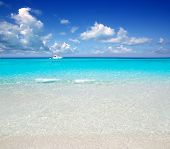 image of tanga  - Illetes Formentera East tanga beach with tropical turquoise Mediterranean sea - JPG
