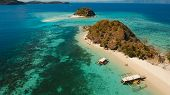 Aerial View Of Tropical Beach On The Bulog Dos Island, Philippines. Beautiful Tropical Island With S poster