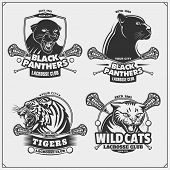 Set Of Lacrosse Emblems, Badges And Labels With Tiger, Panther And Wildcat. poster