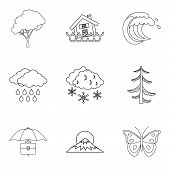 Atmospheric Condition Icons Set. Outline Set Of 9 Atmospheric Condition Icons For Web Isolated On Wh poster