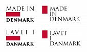 Simple Made In  Denmark / Lavet I Danmark (danish Translation) Label. Text With National Colors Arra poster