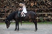 Sport, Activity, Entertainment. Girls Ride On Horse On Summer Day. Friend, Companion, Friendship. Ch poster