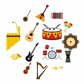 Musical Instruments Icons Set In Flat Style. Orchestra Instruments Set Collection Illustration poster