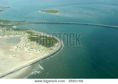 Aerial View Of Outerbanks North Carolina Bridge