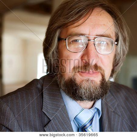 Close up portrait of a successful senior business man