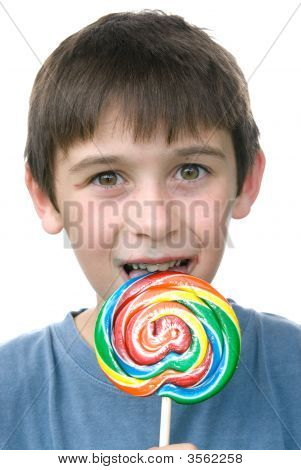 Boy And His Candy Pin Wheel Sucker