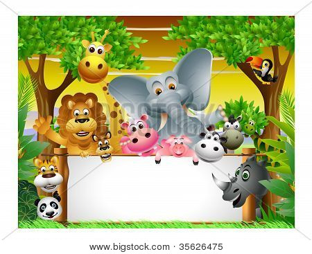 animal cartoon with blank sign