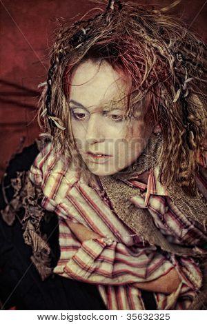 artistic woman in crazy amplua