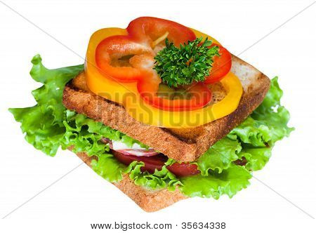 Sandwich On The White Background