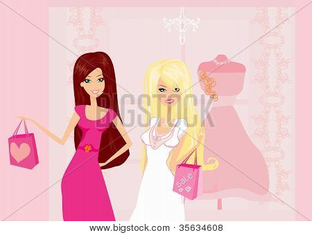 Fashion Girls Shopping Illustration