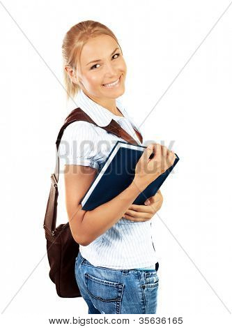 Portrait of beautiful happy student female, attractive clever smiling school girl with textbook isolated on white background, pretty smart cheerful teenager with laptop bag,education concept