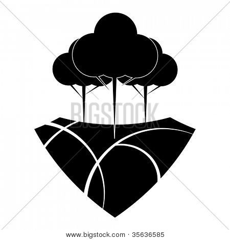 Black and white reforestation design concept.