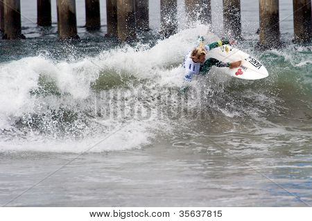 HUNTINGTON BEACH, CA - AUGUST 2: Tanner Gudauskas competes in the Nike US Open of Surfing in Huntington Beach, CA on August 2, 2012