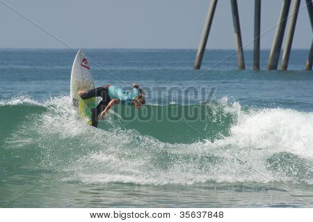 HUNTINGTON BEACH, CA - AUGUST 2: Jesse Mendes competes in the Nike US Open of Surfing in Huntington Beach, CA on August 2, 2012