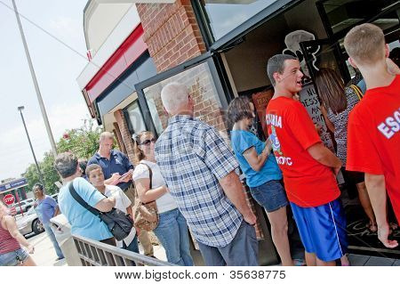 PENSACOLA, FL - AUGUST 1: Patrons line up at Chick-Fil-A restaurant in Pensacola, FL, on August 1, 2012 on national Day of Support following backlash from the owner supporting traditional marriage.