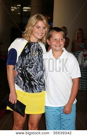 LOS ANGELES - AUG 2:  Candace Cameron Bure, son Maks arrives at the Hallmark Channel TCA Press Tour 2012 at Beverly Hilton Hotel on August 2, 2012 in Beverly Hills, CA