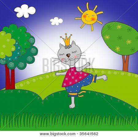 Cat princess. Cartoon character