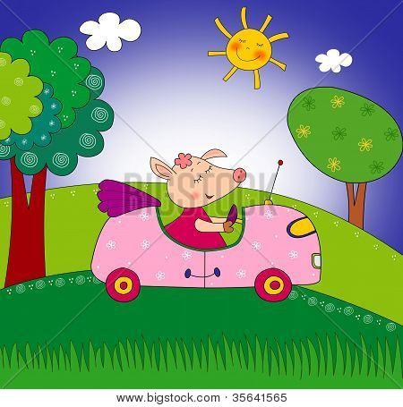 Piggy on the car