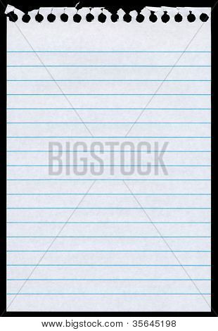 White lined blank torn notepaper page isolated black background.