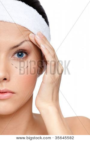 Starting a facelift, right part of a face, isolated, white background