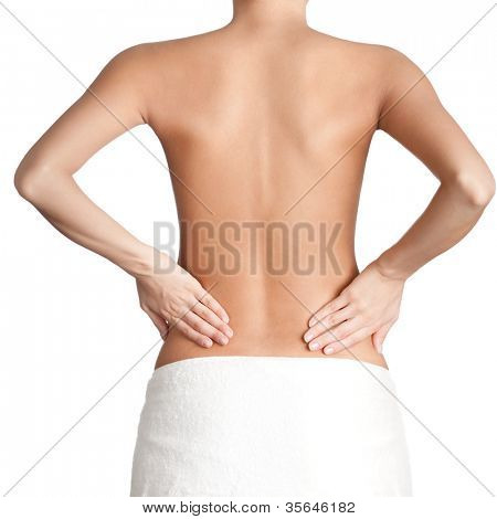 Slim waist of athletic woman, isolated, white background