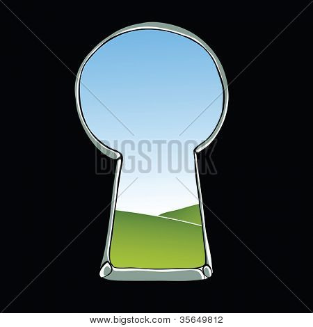 Keyhole illustration. View of landscape through keyhole. Raster version, vector file available in portfolio