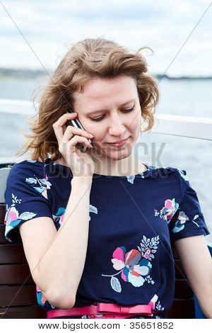 Young One Caucasian Woman Speaking On Mobile Phone