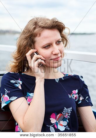 Young One Caucasian Woman Calling On Mobile Phone
