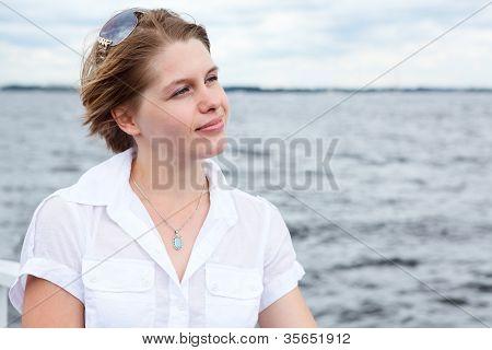 Pretty Caucasian Woman With Sunglasses. Copyspace