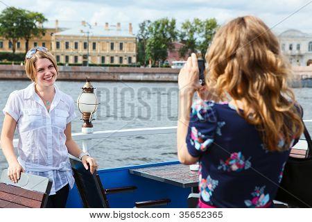 Women Model Posing To Photographer Outdoor