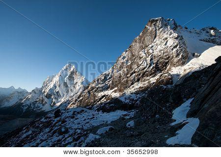 Cho La Pass Peaks At Dawn In Himalaya Mountains