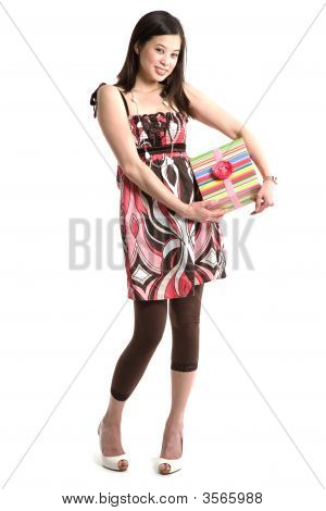 Asian Woman Giving A Gift