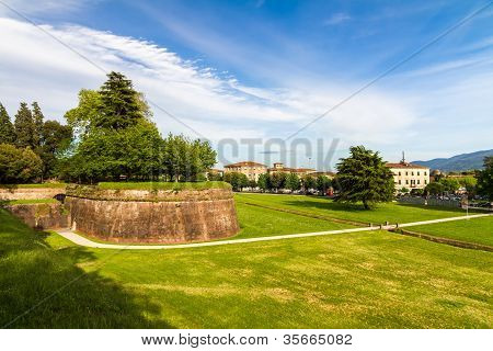 Historic town wall in Lucca, Tuscany, Italy