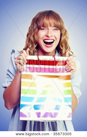 Bargain Shopping Woman Laughing With Joy