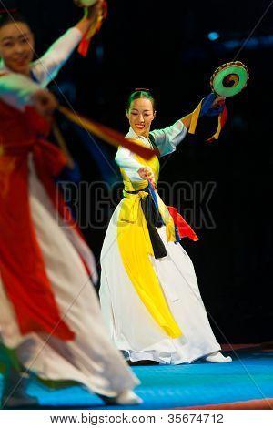 Pretty Korean Woman Traditional Dance Sogo Drum