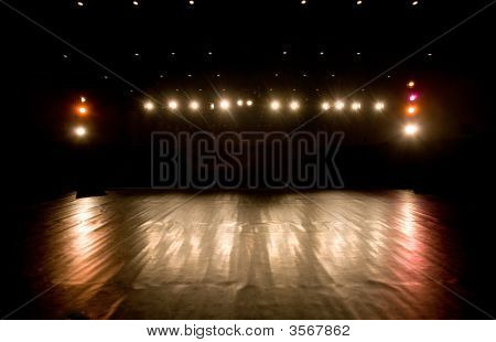 Spotlights On A Modern Theater Stage