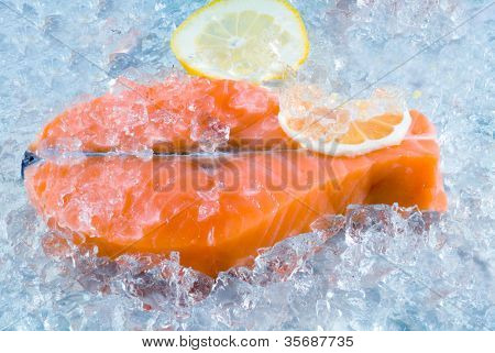 Stake from a salmon on an ice.