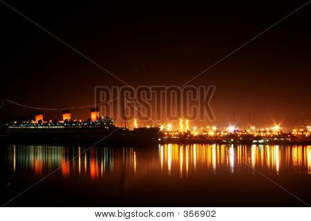 Queen Mary California Night Scene