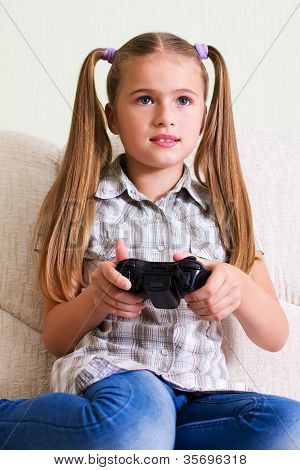 Girl playing video game.