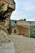 stock photo of ares  - Small spanish old town with mountains view - JPG
