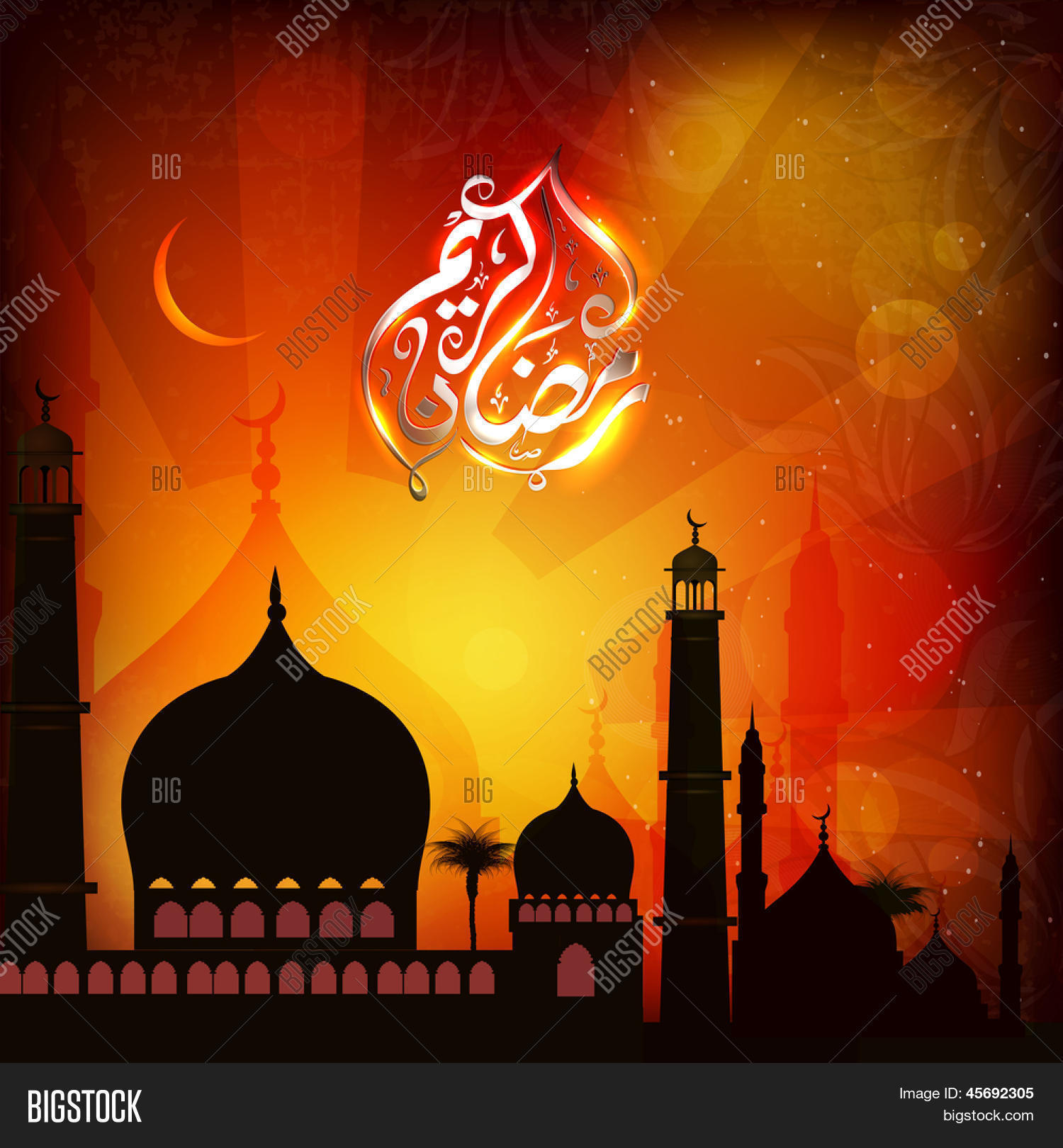 Mosque background for ramadan kareem stock photography image - Arabic Islamic Calligraphy Of Shiny Text Ramadan Kareem Or Ramazan Kareem With Silhouette Of Mosque Or
