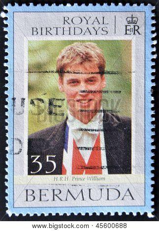A stamp printed in Bermuda shows Prince William royal birthdays